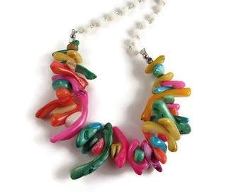 Multi Color Shell Spike Long Necklace