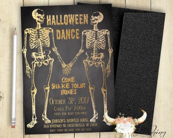 Halloween Dance Invitation Halloween Party Invitation Haunted House Printable Customized Skeletons Black and Gold Skeleton Couple