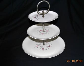 3 Tier Salem  Simplicity Pink Serving, Tidbit Tray
