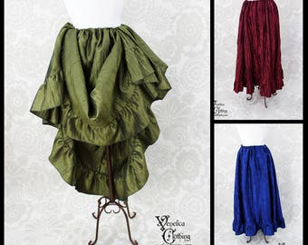 Renaissance Steampunk Jane Ruffle Skirt in Crinkled Taffeta  --  Custom Made in Your Size and Color Choice