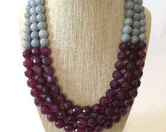 Purple and Gray Chunky Statement Necklace