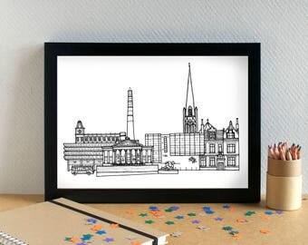 Preston Landmarks Print - Preston Skyline Art Print - Preston Wedding Gift - Preston Art Print - Preston Graduation Gift - Lancashire Art