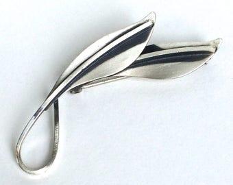 Modernist Sterling Brooch Leaf By Jewel Art