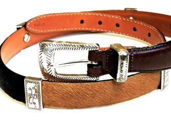 """Brighton Brown Leather Belt with Multicolor Cow Hair, Silver Conchos, Vintage Western Womens Style Q4800, Size S 28"""", 1"""" wide itsyourcountry"""