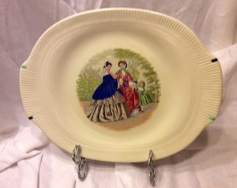 "Codey Prints Ecru Rib Salem China 11 3/4"" Serving Platter 1940's"