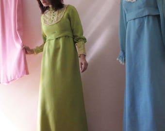 Vintage 60s Lime Green Prairie Maxi Dress, Boho Empire Line Small