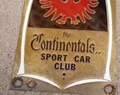 Vintage Mid Century 1950's West Coast Sport Car Club Plaque The Continentals