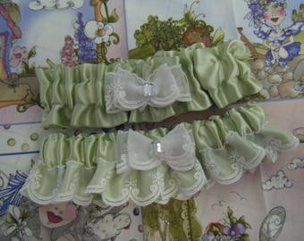 Soft Green Garter Set with Elegant White Lace.