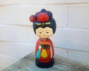 Japanese Bobble Head Mid Century Decor Woman Figurine Nodder
