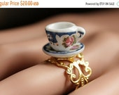 MOTHERS DAY SALE Victorian Teacup Ring. Miniature Tea Cup Ring. Blue and Pink Cup and Saucer Ring. Gold Filigree Adjustable Ring. Gold Ring.