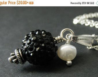 BACK to SCHOOL SALE Black Rhinestone Necklace. Black Necklace. Kissing Ball Necklace with Fresh Water Pearl. Handmade Jewelry.