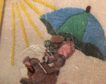 Stitchery embroidery creative crewel kit mouse sunning unopened wonderart