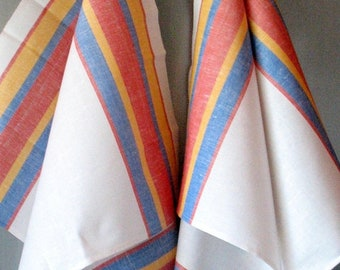 Tea Towel Stripes Striped Kitchen Towels Linen Towel Linen Hand Towels Tea Towels Linen Dish Towel Blue Red Yellow White
