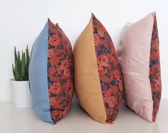 "Handmade orange and red floral square cushion cover 47cm x 47cm/ 18.5"" x 18.5"" in Pink"