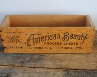 Vintage Wood Cheese Box Pabst - Ett Corporation American Beauty Plymouth Wisconsin
