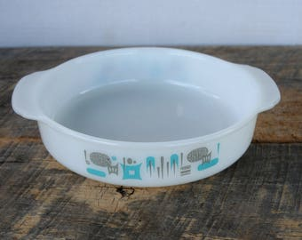 Vintage Blue Heaven Fire King Milk Glass Round Casserole Cake Dish