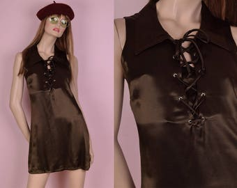 90s Does 70s Olive Brown Lace Up Dress/ Small/ 1990s