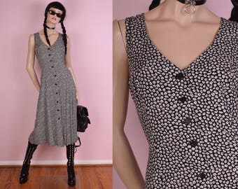 90s Button Down Maxi Dress/ US 7-8/ 1990s/ Tank/ Sleeveless