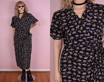 90s Floral Print Wrap Dress/ US 12/ 1990s