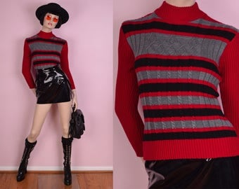90s Ribbed Knit Sweater/ Small/ 1990s/ Long Sleeve