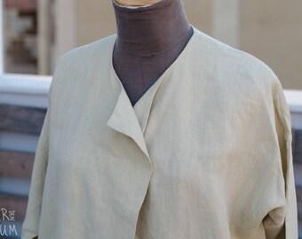 90's Beige Linen Jacket - Long Sleeve Linen Jacket