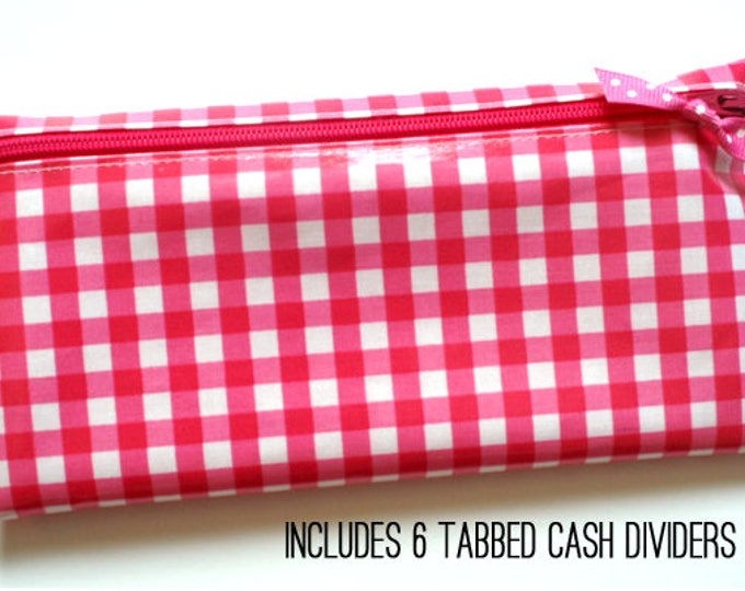 Pink gingham cash wallet with tab dividers for Dave Ramsey budget
