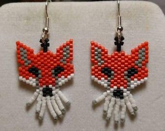 Native American Style Beaded Sly Old Fox Animal Wildlife Earrings Southwestern, Brick Stitch, Boho, Loom, Dangle, Cute Earrings Great Gift
