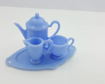 Irwin Toy Dishes Tea set Miniature  Doll House Toy  Mint Condition Blue tea pot cream sugar Oval tray