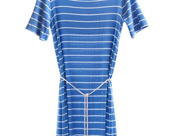 SALE 30% Boatneck T-Shirt Dress with Slit Opening at the Back. Blue and white stripes. Organic Cotton, Bamboo and Spandex.