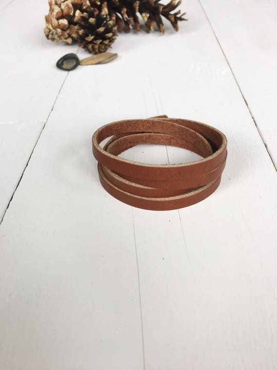 Leather wrap bracelet, unisex leather bracelet, simple wrap bracelet, multistrand bracelet, cuff bracelet, leather cuff, chestnut brown