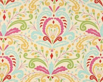 One  Twin   Duvet Cover    - Kumari Gardens - Large Floral Damask - Lime/Fuchsia/Yellow/Aqua