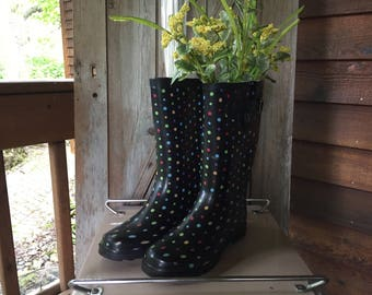 Rubber Rain Boots, Re-purposed Fresh Flower Vase, Spring Home Decor, Rain Showers
