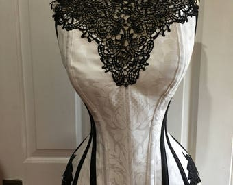 "White corset with black lace collar (24"" waist)"
