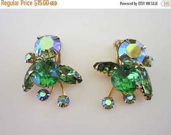 50% OFF Beau Jewels Bright Spring AB Green Rhinestone Gold tone Earrings Clip on