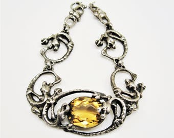 Antique Sterling Silver Dragons & Citrine Gemstone Bracelet, Art Nouveau Bracelet, Art Deco Bracelet
