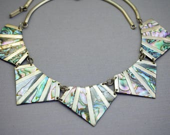 Silver Alpaca And Shell Geometric Necklace