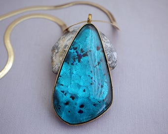 Stunning Vintage Glass Pendant on Chain Large Blue Glass Pendant Herringbone Gold Chain CX22