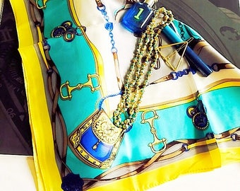Turquoise and Yellow Chain & Belt Printed Scarf