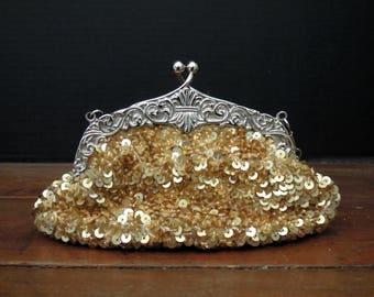 Vintage Gold Sequin Purse / Handbag / Clutch