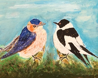 Acrylic painting of Two Birds