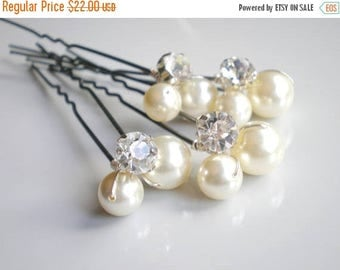 ON SALE Bridal IVORY Pearl Rhinestone Hair Pins. Elegant Wedding Pearl Hair Pins. Large Swarovski Pearls. Bridal Hair Jewelry. Chic  Prom. B