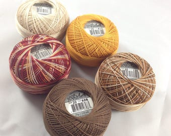 FULL SPOOLS - Lizbeth Tatting Thread -  Browns 5 Pack (Colors 611, 698, 168, 150, and 169) - Size 20 - 1050 Yards Total