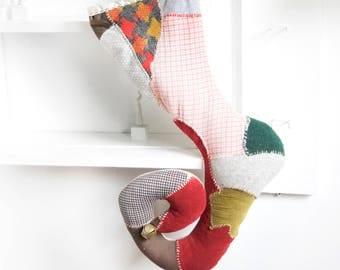 "26"" Handmade Christmas stockings, Upcycled fabric, Tim Burton inspire christmas decor, Whimsical holiday, Custom stocking, Vintage Fabric"