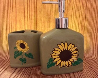 Sunflower Ceramic Liquid Soap Dispenser, Ceramic Tooth Paste/Tooth Brush Holder, Two Piece Set, for Summer and Fall