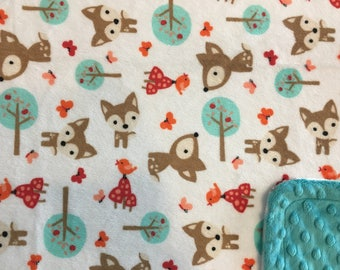 Minky Blanket Fox and Friends Print Minky with Teal Dimple Dot Minky Backing - Perfect Size a Toddler or Child 36 x 42
