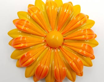 Mustard Yellow and Orange Flower Pin, 1970s Metal Enamel Flower Brooch, Burnt Yellow Flower Brooch, Orange Flower Brooch