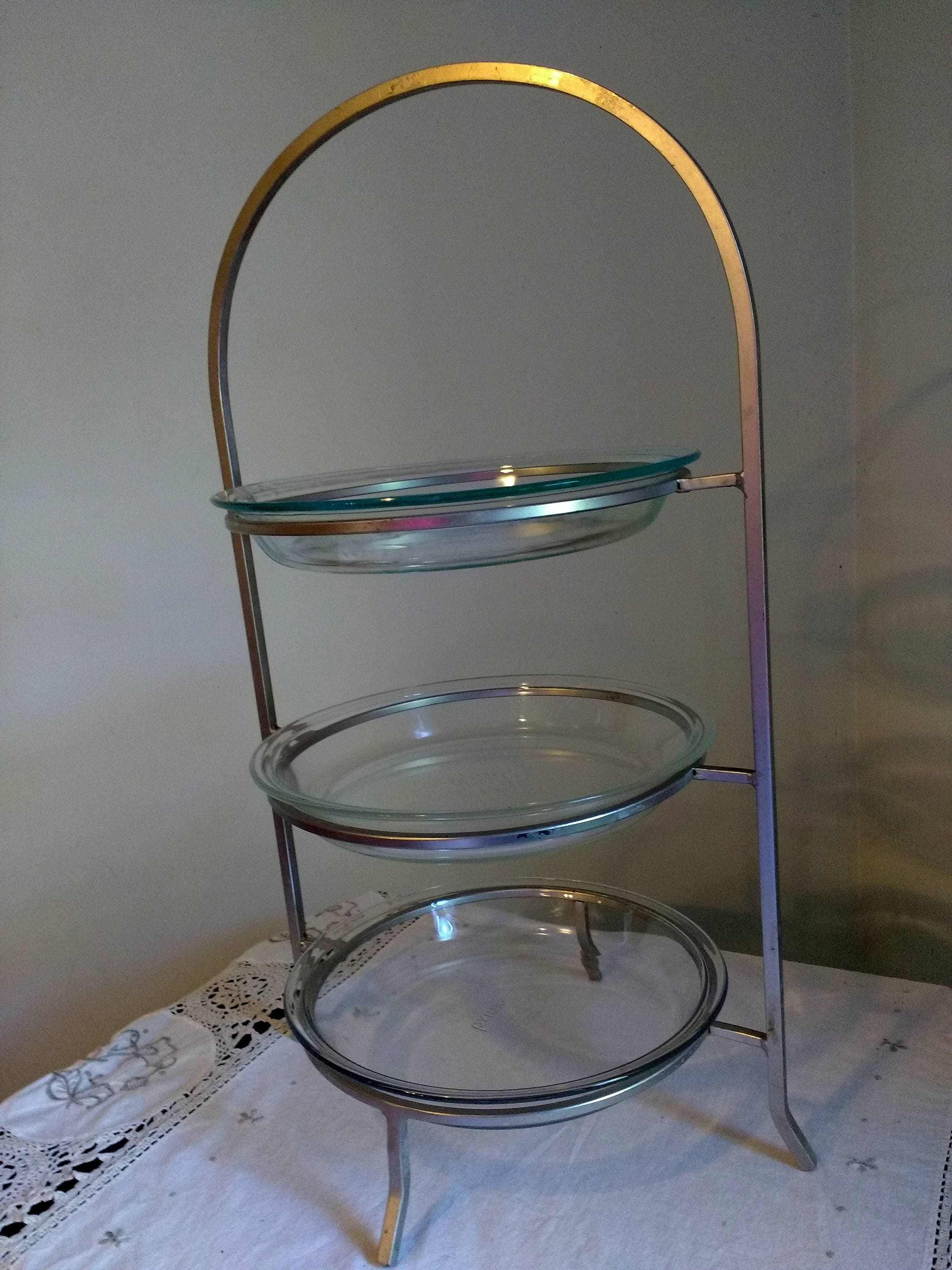 Vintage Chrome Modern Style Pie Plate Stand Three Tiered Fits Pyrex Tiered Serving Stand Art Deco & Vintage Chrome Modern Style Pie Plate Stand Three Tiered Fits Pyrex ...