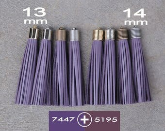 Royal Purple Leather(cowhide) TASSEL  in 13 or 14mm Cap -4 colors Plated Cap- Pick cap size, cap color