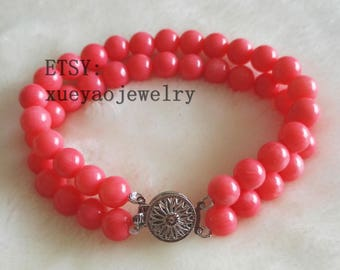 free shipping - charm bracelet, double rows 8 mm pink Coral analogues bracelet
