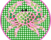 Iron On Transfer Crab On Green Check - Great for Backpacks, Pillows, Totes, T-Shirts, Aprons and Other Gifts!